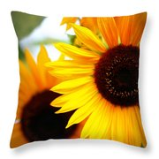 Peekaboo Sunflowers Throw Pillow