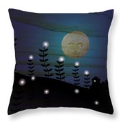 Peekers In The Star Field  Throw Pillow