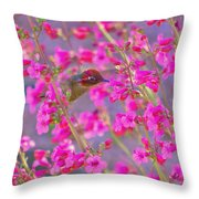 Peeking Through The Pink Penstemons Throw Pillow