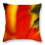 Peering Into The Heart Of A Tulip Throw Pillow