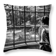 Peering Out The Window Bw Throw Pillow