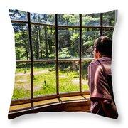 Peering Out The Window Throw Pillow