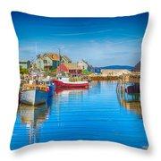 Peggy's Cove Boats Nova Scotia Throw Pillow