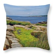 Peggy's Cove From Lighthouse-ns Throw Pillow