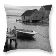 Peggys Cove In Black And White Throw Pillow