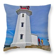 Peggy's Cove Lighthouse Closeup-ns Throw Pillow