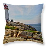 Peggy's Cove Lighthouse On The Rocks-ns Throw Pillow