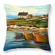 Peggys Cove With Fishing Boats Throw Pillow