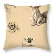 Pekes, 1930, Illustrations Throw Pillow