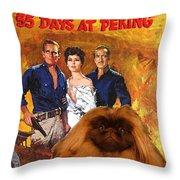 Pekingese Art - 55 Days In Peking Movie Poster Throw Pillow