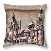 Peles Castle Romania Drawing Throw Pillow