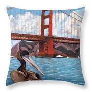 Pelican  And Bridge Throw Pillow