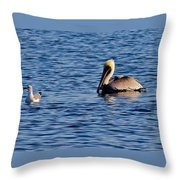 Pelican And Gull Throw Pillow
