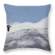 Pelican And Mountains Throw Pillow