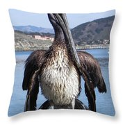 Pelican At Avila Beach Ca Throw Pillow