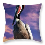 Pelican At Sunset Throw Pillow