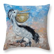 Pelican Beach Walk - Impressionist Throw Pillow