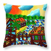 Pelican Convention Cedar Key Throw Pillow by Mike Segal