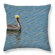 Pelican Drifting On Rippled Water Throw Pillow