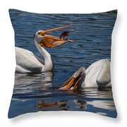 Pelican Fishing Buddies Throw Pillow by Kathleen Bishop
