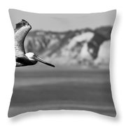 Pelican In Black And White Throw Pillow