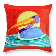 Pelican In The Sun  Throw Pillow