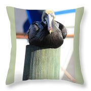 Pelican On Piling Throw Pillow