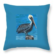 Pelican On Post Throw Pillow