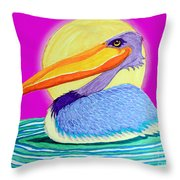 Pelican On The Water 2 Throw Pillow