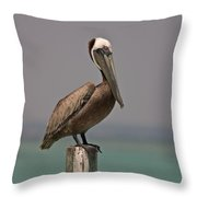 Pelican Perched On A Piling Throw Pillow