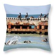 Pelican Pier Throw Pillow