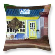 Pelican Restaurant On Lake Ave In Lake Worth Florida Throw Pillow