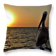 Pelican Sunset 2 Throw Pillow