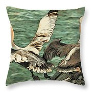 Pelican Take Off Two Throw Pillow