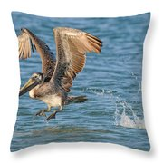 Pelican Taking Off Throw Pillow