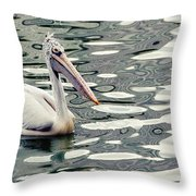 Pelican With Abstract Water Reflections I Throw Pillow