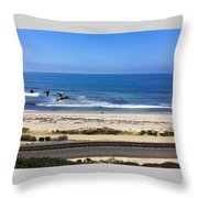 Pelicans And Rider Throw Pillow