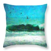 Pelicans Enjoying The Mighty Pacific Impressionism Throw Pillow