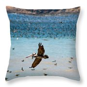 Pelicans Flocking On The Ocean Throw Pillow