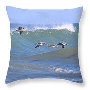 Pelicans Flying Between Waves 3788 Throw Pillow