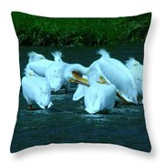 Pelicans Hanging Out Throw Pillow