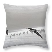 Pelicans Off For A Foggy Day Of Fishing Throw Pillow