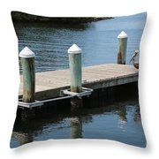 Pelicans On Dock In Florida Throw Pillow
