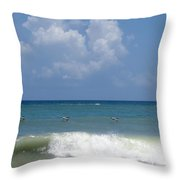 Pelicans Over The Ocean Throw Pillow