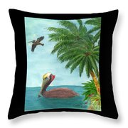 Pelicans Palm Trees Tropical Birds Cathy Peek Throw Pillow