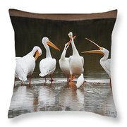 Pelicans Singing Auld Lang Syne Throw Pillow