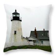 Pemaquid Point Light In The Rain - Maine Throw Pillow