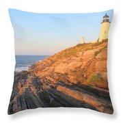 Pemaquid Point Lighthouse Bluffs Throw Pillow