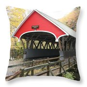 Pemigewasset River Covered Bridge In Fall Throw Pillow