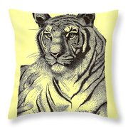 Pen And Ink Drawing Of Royal Tiger Throw Pillow by Mario Perez